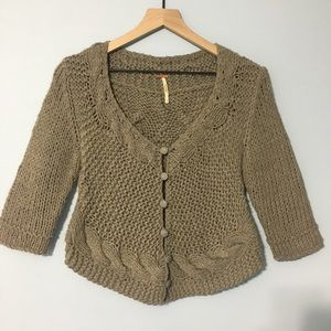 Free People cable knit plaid button cardigan S